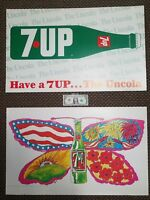RARE PSYCHEDELIC PETER MAX 7UP BUTTERFLY & BOTTLE 1969 2-sided PAT DYPOLD