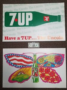RARE PSYCHEDELIC WOODSTOCK ERA 7UP BUTTERFLY & BOTTLE 1969 2-sided PAT DYPOLD