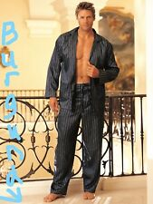 Burgundy Stripe Long Sleeve Pajamas Button Up Shirt Drawstring Pants L 80002