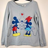 Disney Women's Mickey & Minnie Kissing Pullover Sweater Size Large 11/13 Gray