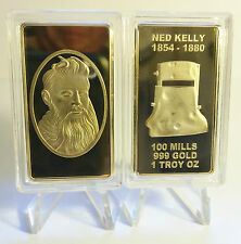 "NED KELLY ""UNDER THE MASK"" 1 Oz INGOT FINISHED IN 999 24k GOLD, O/LAW, GLENROWAN"