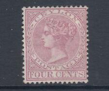 Ceylon SG 123, Sc 65 MLH. 1880 4c rosy mauve QV, clear HR, sound.
