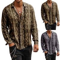 Mode Herren Langarm Leoparden bedruckte Fit Freizeithemd Beach Party Tops Bluse