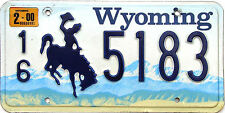 Wyoming BLUE BRONCO Embossed License Plate - COWBOY HORSE WY