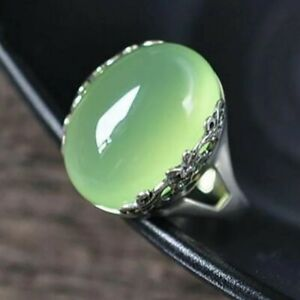 Large Green Jade Crystal Silver Ring Adjustable Size Jewelry Vintage