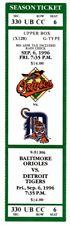 1996 BALTIMORE ORIOLES vs DETROIT TIGERS ticket EDDIE MURRAY 500th Home Run HR