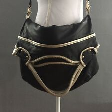 Foley and Corinna Mid City Tote Cross Body Purse Bag Black Leather Gold Large
