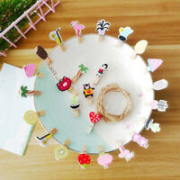 10PC Mini Cute Cartoon Wooden Clips Pegs Paper DIY Photo Wall Home Bedroom Decor