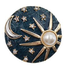 Round Blue Enamel Rhinestone Sun Moon Star Brooch Pin Women Fashion Jewelry 4cm