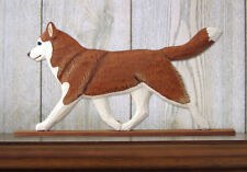 Siberian Husky Dog Figurine Sign Plaque Display Wall Decoration Red/White