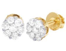 Unisex 10K Yellow Gold Round Flower Cluster Genuine Diamond Stud Earrings 1/2CT
