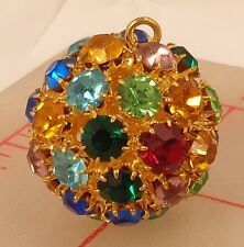 "1 vintage large gold multicolor rhinestone ball pendant button Czech 1"" 25mm 450"