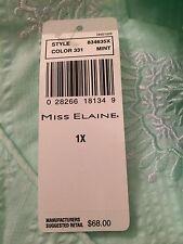 MISS ELAINE Mint Green Snap Front Short Sleeve Robe Duster Sz Womens Plus Sz 1X