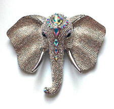 Butler and Wilson Clear Crystal Elephant Head Brooch Vintage Anniversary 45 New