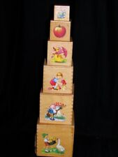 VINTAGE GERMAN WOODEN TOY NESTING BOXES w/ COLORFUL LITHOGRAPHS