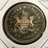 CANADA 1971  SILVER DOLLAR  BRITISH COLUMBIA  BRILLIANT UNCIRCULATED CROWN
