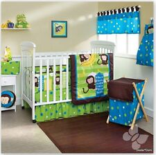 ZOO BOY Baby Bedding Blanket Comforter Crib Cuna Brown Shower Animal Monkey Blue