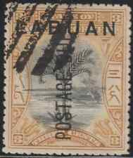 LABUAN 1901 POSTAGE DUE 3c SAGO PALM CTO. ISC CAT RM 500 AS POSTALLY USED