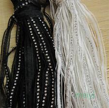 2 yd Vintage Diamond Lace Edge Trim Wedding Bridal Dress Ribbon Sewing Craft DIY