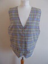 Women's Brown Green pink Blue White Check Waistcoat Vest By Liz Sport Size L