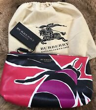 NWT $1295 Burberry Prorsum Insect Printed Clutch Bag Magenta Pink