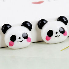 10X Black&White Panda Cabochon Flatback Horse Hair Bows Center Craft Embelli LQ