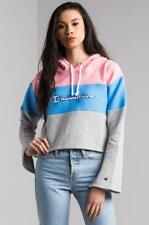 NEW CHAMPION PINK BLUE GRAY REVERSE WEAVE CROPPED HOODIE SZ XS EXTRA SMALL