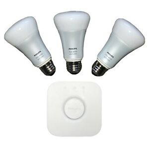 Philips Hue Ambiance A19 Starter Kit - White and Color 3 Bulbs and Bridge