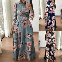 Women Fashion Floral Print Maxi Dress Skinny Plus Size Casual Korean Sexy Dr rs