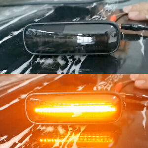 2x For Honda Accord 1994-2002 Turn Signal Light Yellow Flowing Led Side Marker