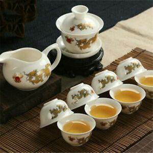 Tea Pot Dragon White Jade Porcelain Ceramic KungFu Tea Set Cup Teapot Sauser Set