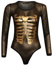 Neu Damen Langärmelig Netz Gold Skelett Body Anzug 8-14