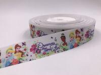 5 Yard 1'' 25MM Princess girl Printed Grosgrain Ribbon Hair Bow Sewing Ribbon