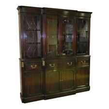 Vintage Two Piece Regency Style China Cabinet w/Etched Beveled Glass