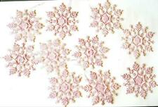 "10 Large 3-1/2"" Special Edition Pink Snowflake Christmas Tree Ornaments"