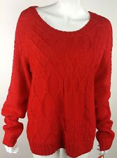 Mossimo Bright Solid Red Chunky Knit Sweater Size XL NWT Crewneck Slight Shimmer