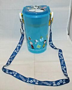 "Universal Studio Japan Peanuts Snoopy Popcorn Bucket Blue Lid Strap 21cm 8.25"""
