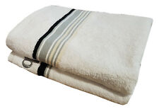 PACK OF 2 HAND TOWELS BRUNO BANANI WHITE STRIPES GREY BLACK CREAM EMBROIDERED