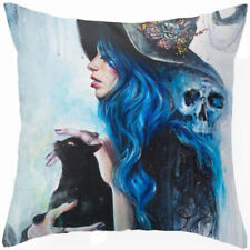 Gypsy Black Cat Skull Hippy Flowers Linen Square Pillow Cushion Cover.