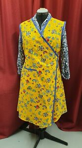 New Vintage 1940's Style Wrap Over Apron WarTime theatre  colours, size 16 to24