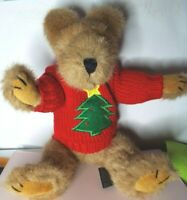 """Vintage The Boyds Jointed Brown Teddy Bear Wearing Christmas Sweater 11"""" 1990-93"""