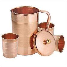 Natural Copper Handmade Water Jug Pitcher 3 Tumbler Set Ayurveda Good Health New