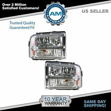 Headlights Headlamps Left & Right Pair Set for 05-07 Ford Super Duty Truck