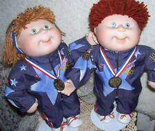 "CPK PORCELAIN OLYMPIC DOLLS CABBAGE PATCH KIDS 14"" BY DANBURY MINT 1996 SET/ 2"