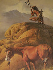 Frank C. McCarthy Ltd Ed 1974 Print LONE SENTINEL Native American Indian vintage
