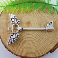 10pcs Antique Silver Alloy Angel Wing Key Pendants Jewellery Craft Findings