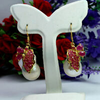 NATURAL WHITE BAROQUE PEARL & RED RUBY LONG EARRINGS 925 STERLING SILVER