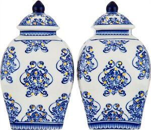 """Set (2) Illuminated 5.5"""" Damask Porcelain Urns Valerie Blue # H211685"""