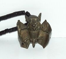 Old Brass Bat Pendant Amulet With Black Glass Bead Necklace From West Africa