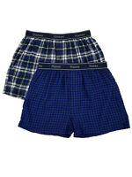 Hanes Mens 2-Pack Blue & Black Plaid Flannel Boxer Shorts